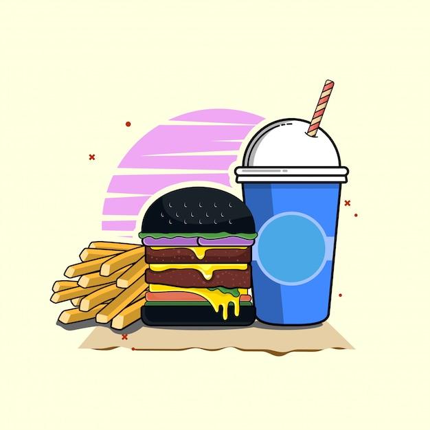 Hamburger met soda clipart illustratie. fastfood clipart concept geïsoleerd. platte cartoon stijl vector Premium Vector