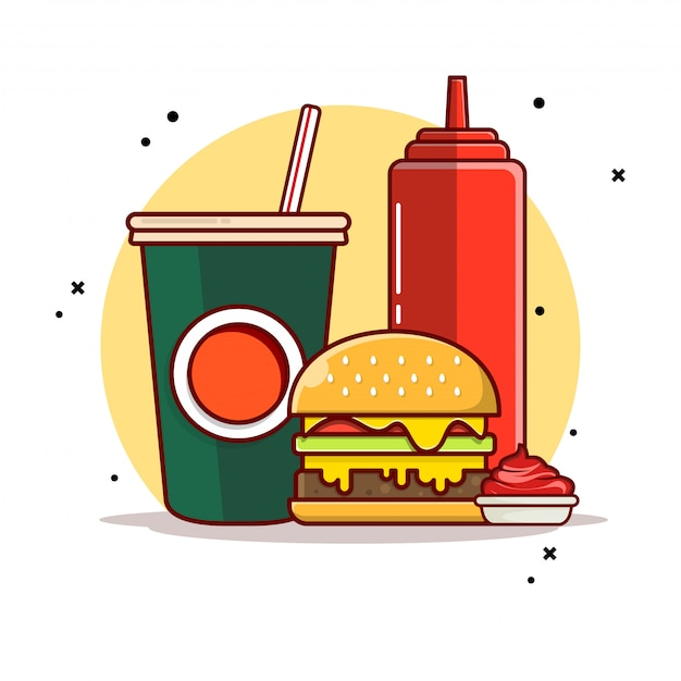Hamburger met soda en saus pictogram illustratie. Premium Vector