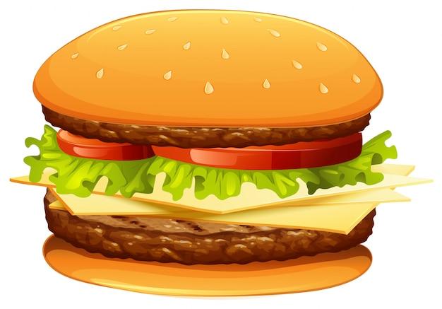 Hamburger met vlees en kaas Gratis Vector