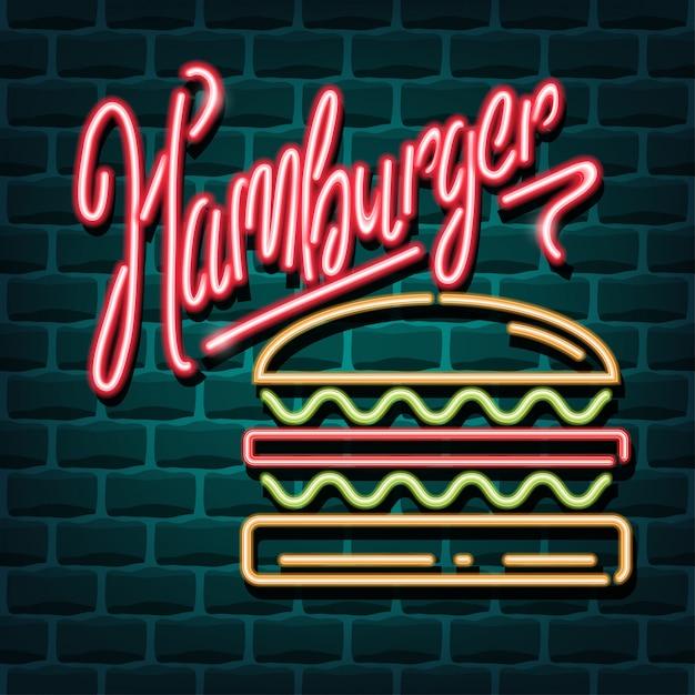 Hamburger neon reclameteken Premium Vector