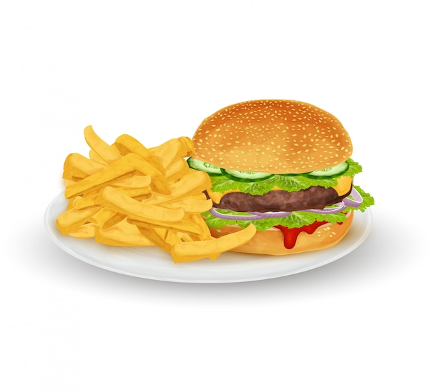 Hamburger op plaat Premium Vector