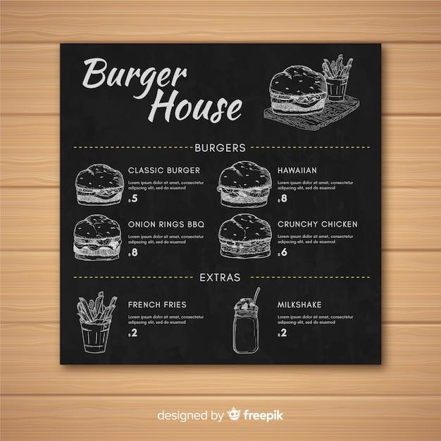 Hamburger restaurant menu retro stijlsjabloon op schoolbord Gratis Vector