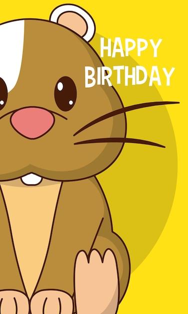 Hamster Gelukkige Verjaardag Leuke Kaart Vector Premium Download