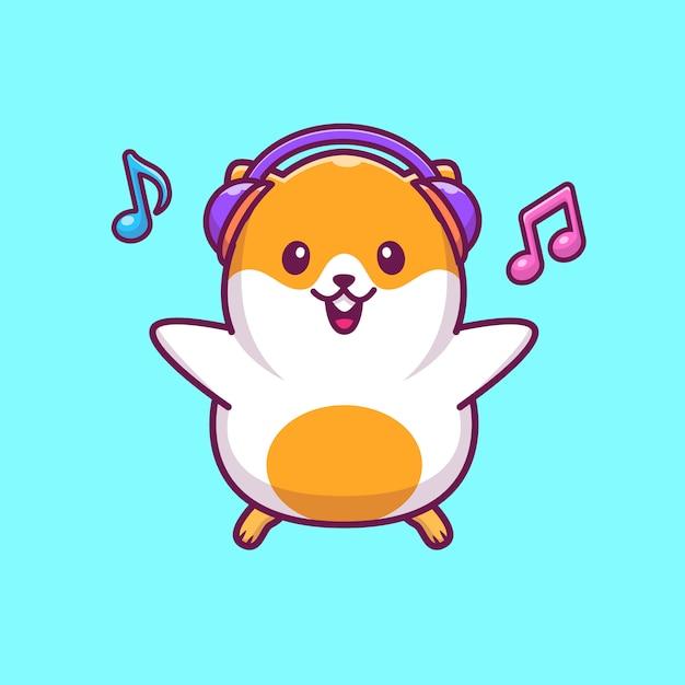 Hamster luisteren muziek pictogram illustratie. hamster mascotte stripfiguur. dierlijke pictogram concept geïsoleerd Premium Vector