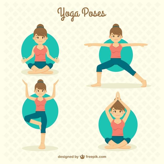 Han getrokken mooi meisje doet yoga houdingen Gratis Vector