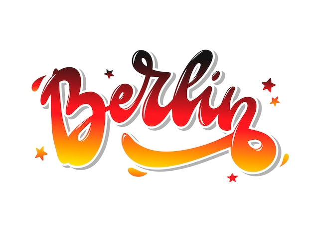 Hand belettering citaat 'berlijn' voor prints, kaarten Premium Vector