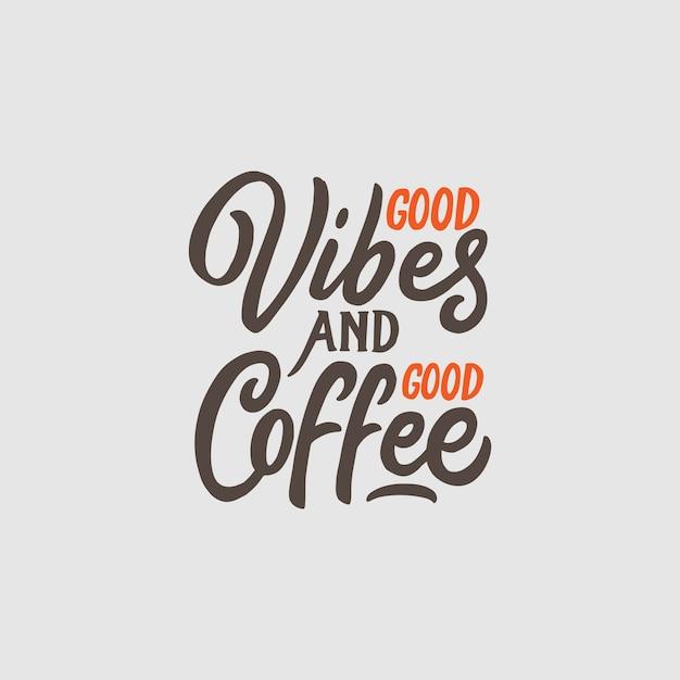 Hand belettering en typografie koffie citaten Premium Vector