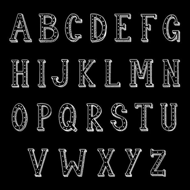 Hand belettering lettertype gemaakt van hoofdletters Premium Vector