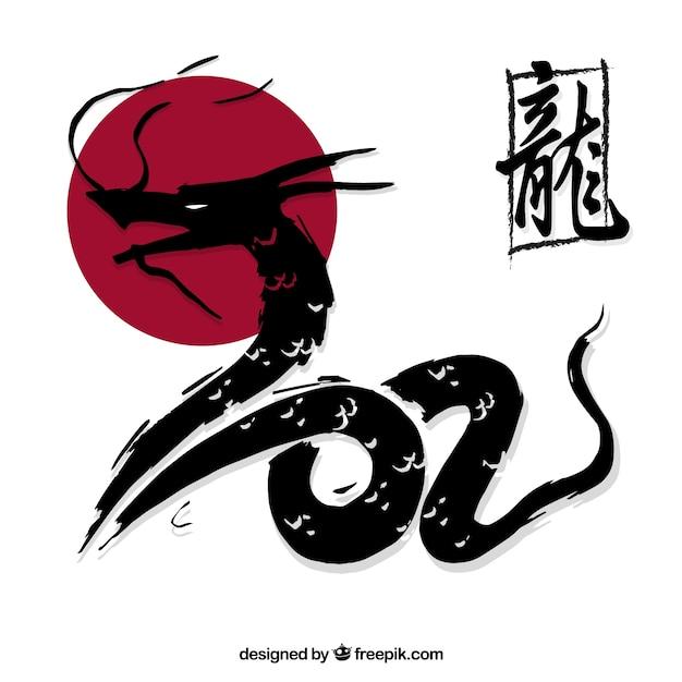 Hand beschilderde japanse draak Gratis Vector