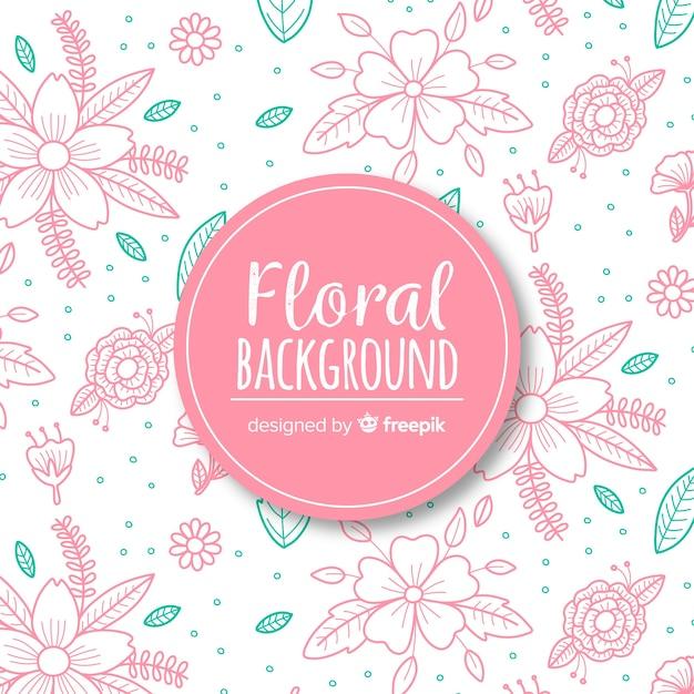 Hand dageraad floral achtergrond Gratis Vector