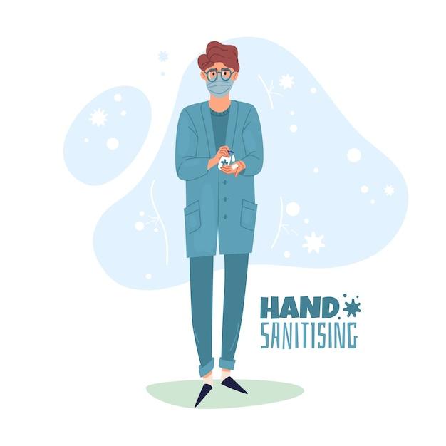 Hand desinfecterende illustratie. de verpleegster gebruikt handdesinfectie. Premium Vector