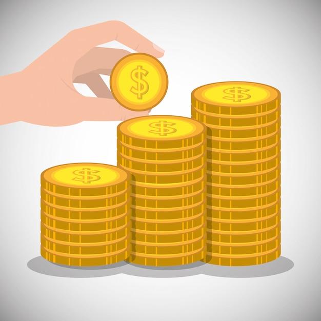Hand die een muntstuk met gestapelde gouden muntstukken houdt Gratis Vector