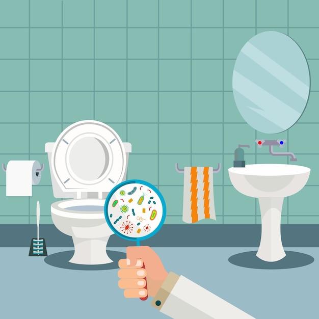 Hand Die Een Vergrootglas Houdt Dat Bacteri 235 N In Het