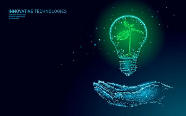 Hand die gloeilampenlamp houden die het concept van de energieecologie besparen. veelhoekige blauwe spruit kleine plant zaailing binnen elektriciteit groene energie kracht illustratie Premium Vector