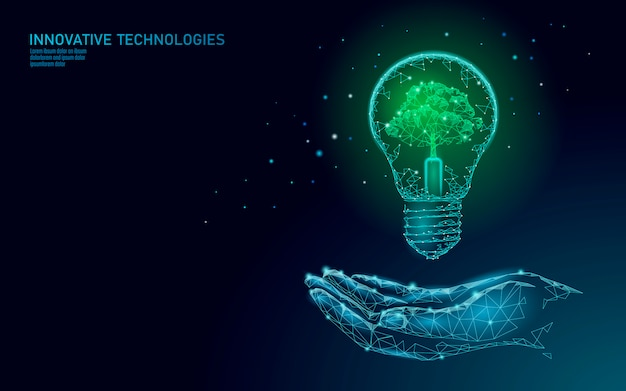 Hand die gloeilampenlamp houden die het concept van de energieecologie besparen. veelhoekige lichtblauwe spruit kleine plant zaailing binnen elektriciteit groene energie macht illustratie Premium Vector