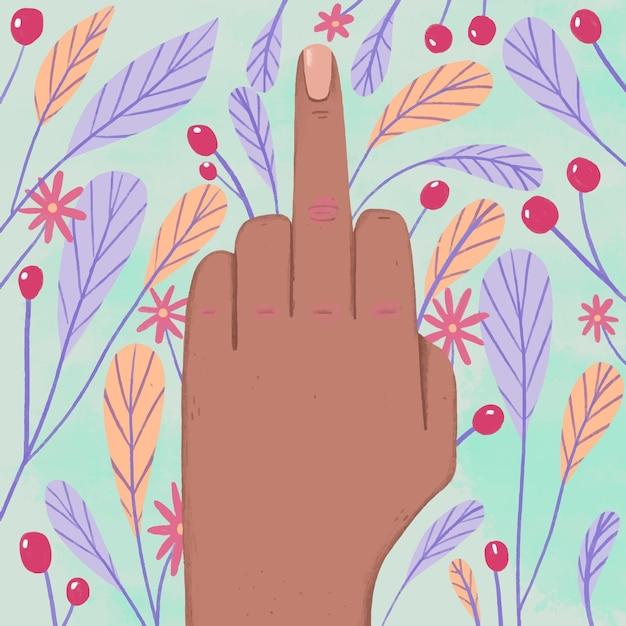 Hand die het fuck you-symbool met bloemen en bladeren toont Gratis Vector