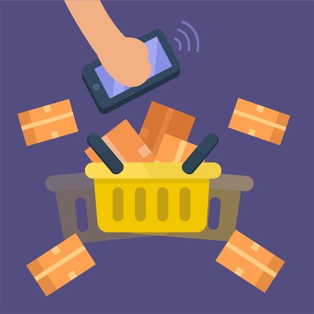Hand die mobiel met volledige mandgoederen, kruidenierswinkel houdt. online winkelconcept. platte vectorillustratie Premium Vector