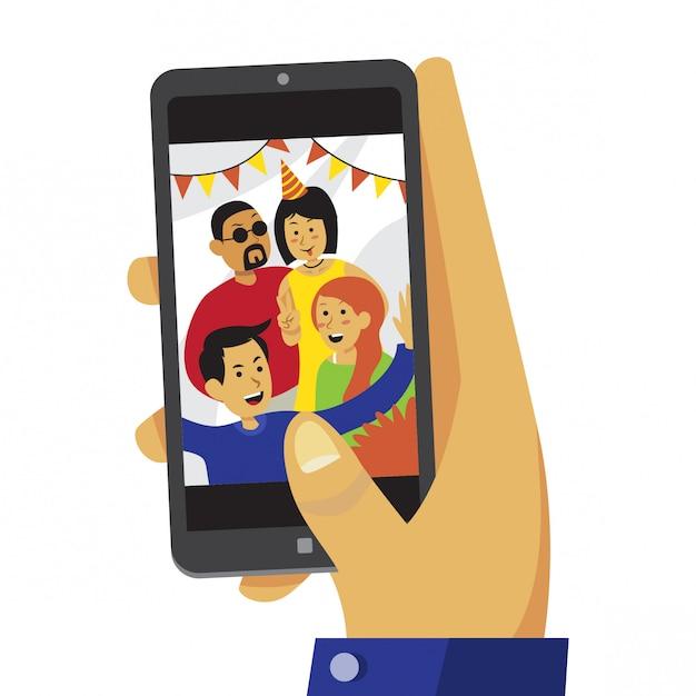 Hand die op smartphone het bekijken de foto van de pretgroep scrolt Premium Vector