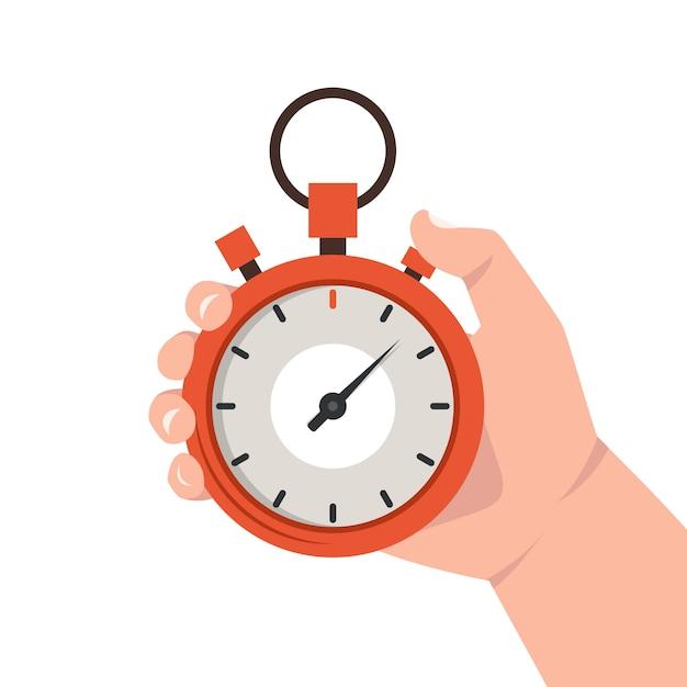 Hand die rode chronometer houdt Premium Vector