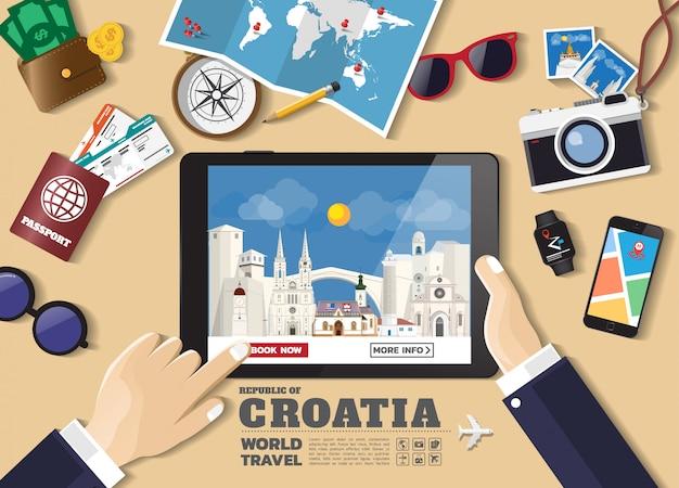 Hand die slimme tablet het boeken reisbestemming houden de beroemde plaatsen van kroatië Premium Vector
