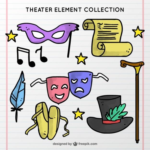 Hand-drawn collectie van theater elementen Gratis Vector