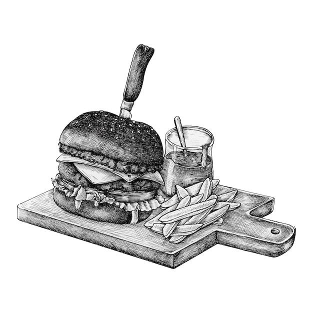 Hand-drawn hamburger en gebraden gerechten Premium Vector