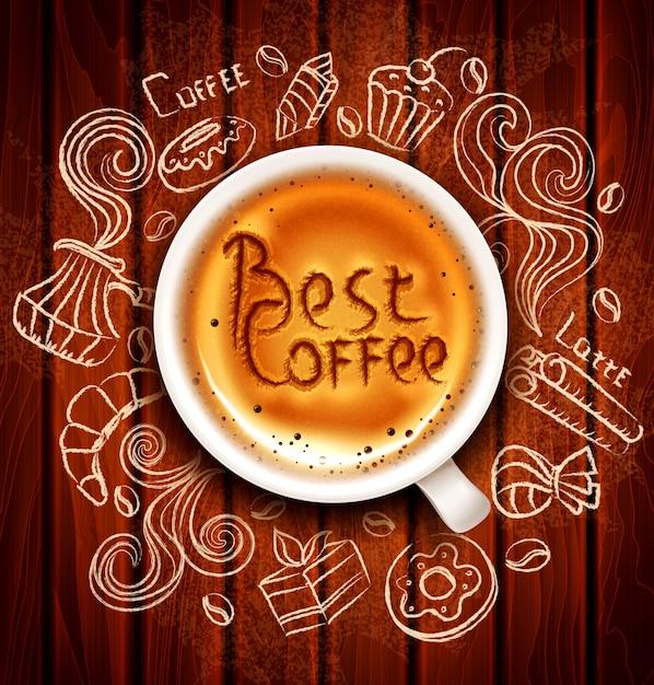 Hand-drawn vectorkrabbels op een koffiethema Premium Vector