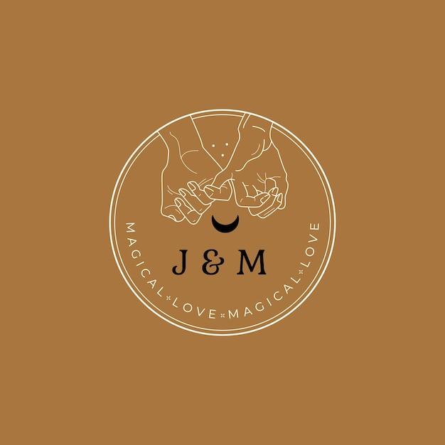 Hand en maan logo Premium Vector