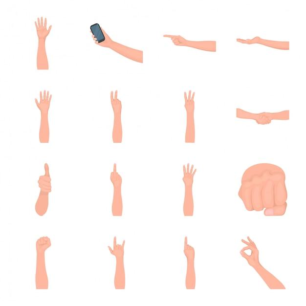Hand en vinger cartoon ingesteld pictogram. geïsoleerde cartoon ingesteld pictogram gebaar. hand en vinger. Premium Vector
