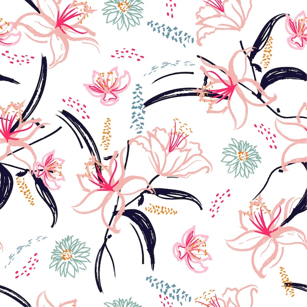 Hand geborsteld bloeiende lily bloem naadloze patroon Premium Vector