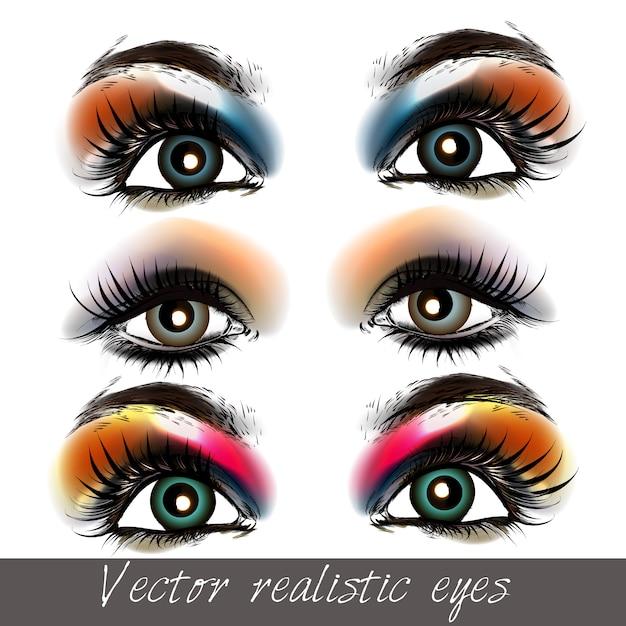 Hand geschilderde collectie ogen Premium Vector