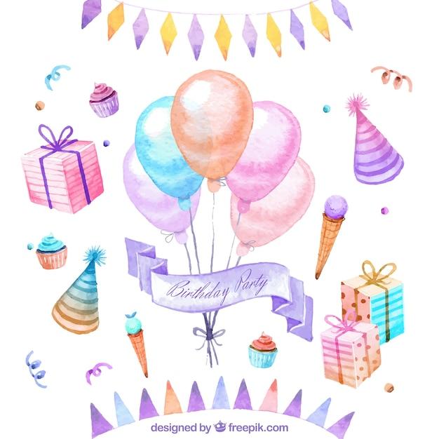 Hand geschilderde verjaardag decoratie vector gratis for Decoratie verjaardag