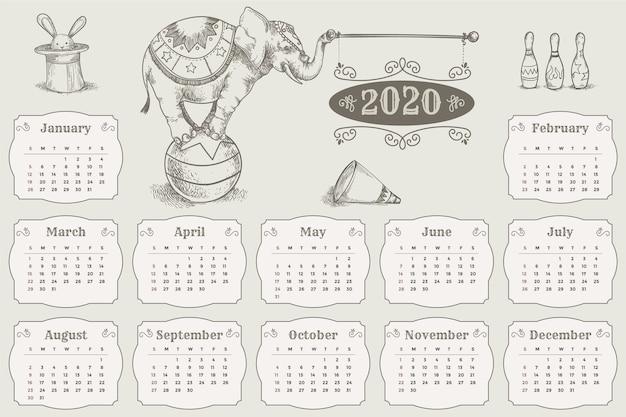 Hand getekend 2020 kalendersjabloon Gratis Vector
