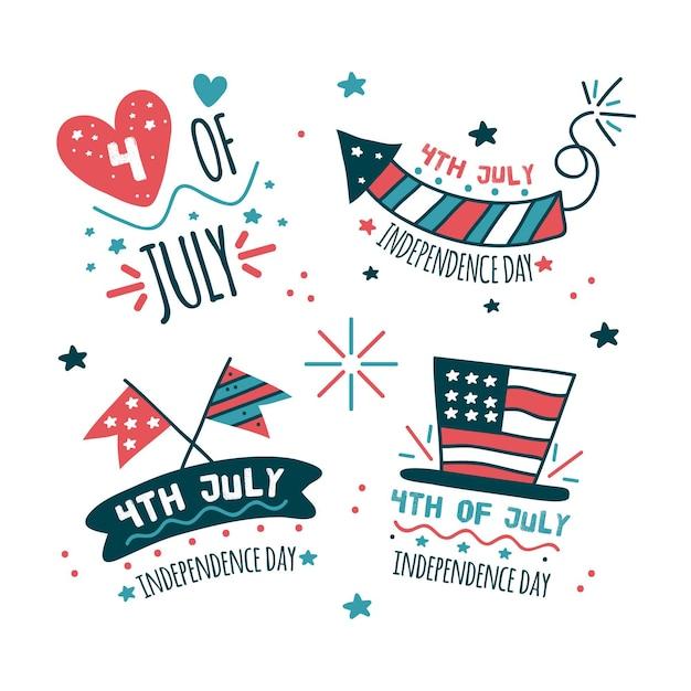 Hand getekend 4 juli - onafhankelijkheidsdag etiketten Gratis Vector