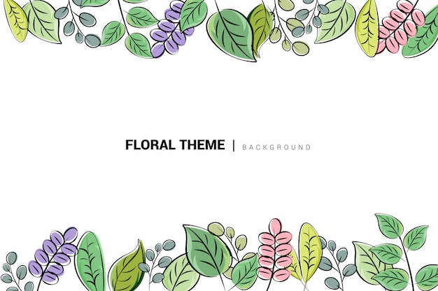 Hand getekend abstract floral achtergrond Premium Vector