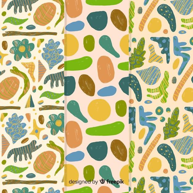 Hand getekend abstract met groenten en fruit ontwerp Gratis Vector