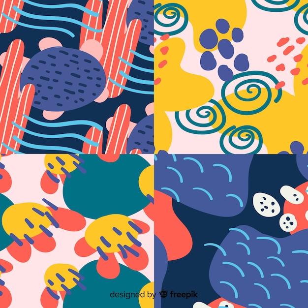 Hand getekend abstract patroon collectie Gratis Vector