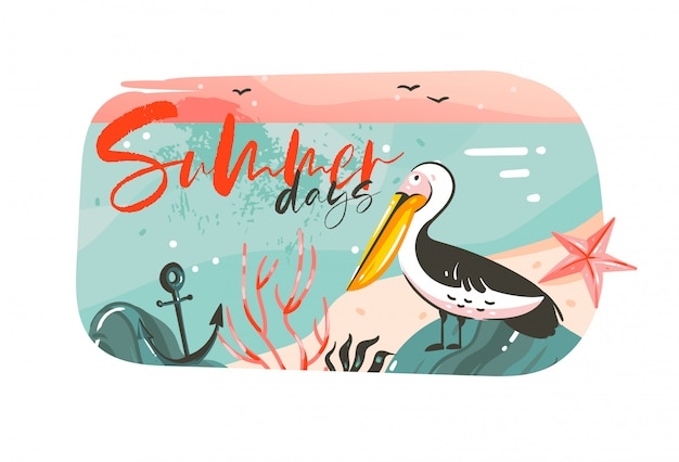 Hand getekend abstracte cartoon zomertijd grafische illustraties kunst banner achtergrond met oceaan strand landschap, roze zonsondergang, pelikaan vogel en zomerdagen typografie citaat op wit Premium Vector