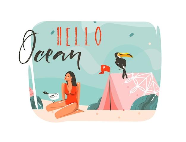 Hand getekend abstracte cartoon zomertijd grafische illustraties kunst sjabloon achtergrond met oceaan strand landschap, roze tent, toekanvogel en schoonheid meisje Premium Vector