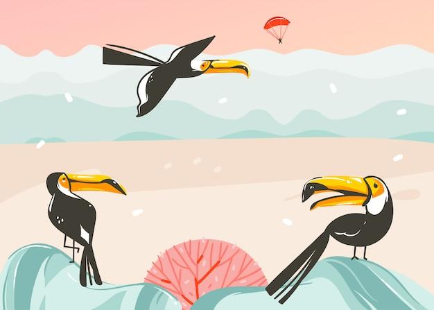Hand getekend abstracte cartoon zomertijd grafische illustraties kunst sjabloon achtergrond met oceaan strand landschap, roze zonsondergang, tropische toekan vogels en kopie ruimte plaats voor uw tekst Premium Vector