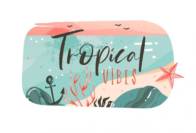 Hand getekend abstracte cartoon zomertijd grafische illustraties kunst sjabloon banner badge achtergrond met oceaan strand landschap, roze zonsondergang met tropical vibes typografie offerte Premium Vector