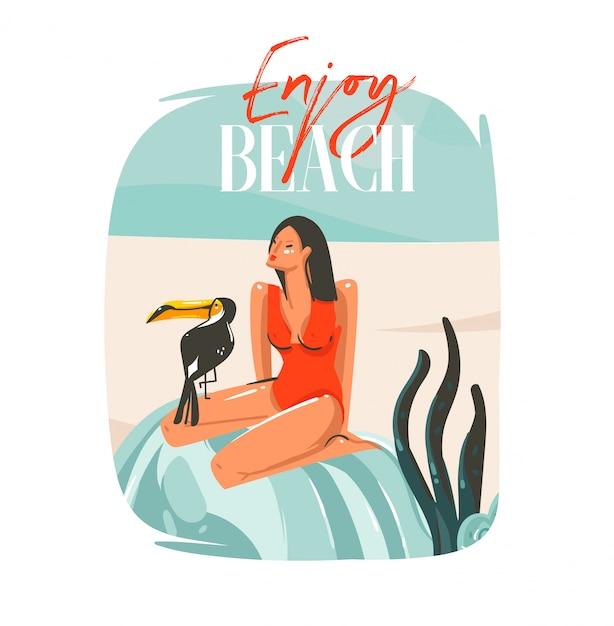 Hand getekend abstracte cartoon zomertijd grafische illustraties sjabloon teken achtergrond met meisje, ontspannen op strandscène, tropische vogels en genieten van strand typografie op witte achtergrond Premium Vector