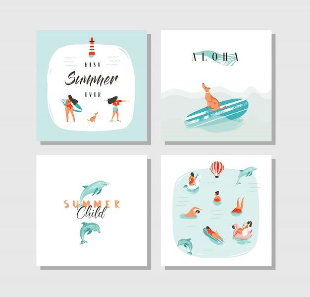 Hand getekend abstracte cartoon zomertijd leuke kaarten collectie set sjabloon met gelukkig zwemmen mensen in blauwe oceaanwater, hond op skateboard en typografie citaat op witte achtergrond. Premium Vector