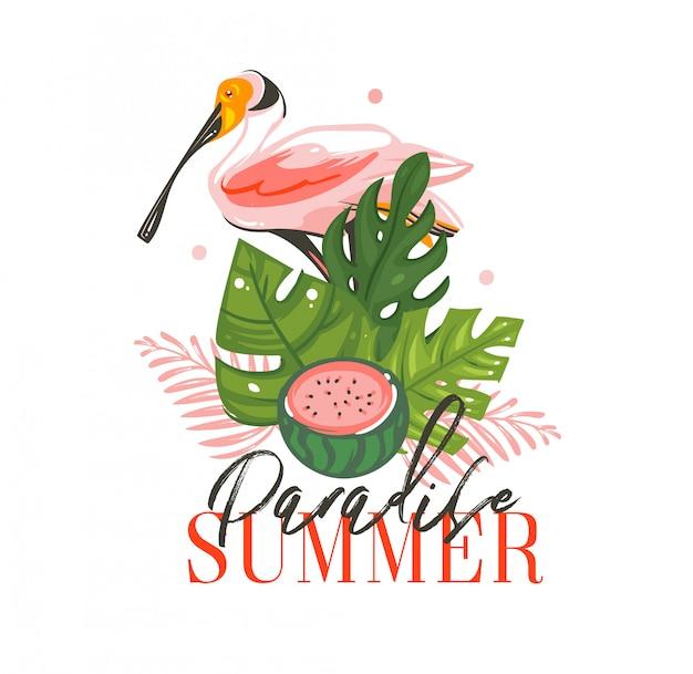 Hand getekend abstracte grafische cartoon zomertijd illustraties ondertekenen met tropische vogels, tropische palmbladeren, watermeloen en paradijs zomer typografie citaat op witte achtergrond Premium Vector