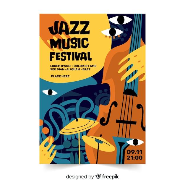 Hand getekend abstracte jazz poster sjabloon Gratis Vector