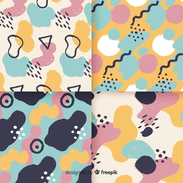 Hand getekend abstracte memphis patroon collectie Gratis Vector