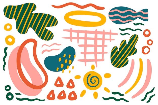 Hand getekend abstracte organische vormen achtergrond Gratis Vector