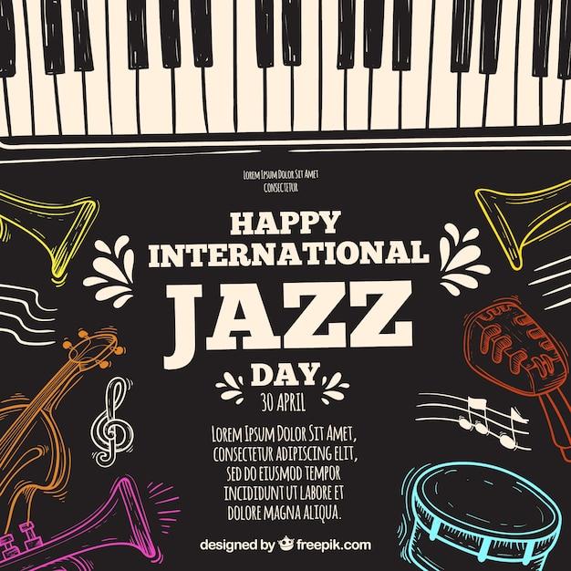 Hand getekend achtergrond voor de internationale jazz-dag Gratis Vector