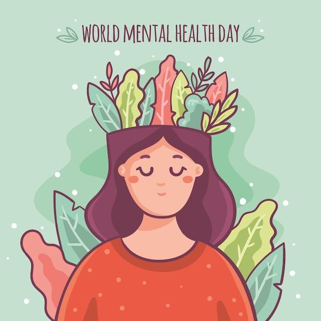 Hand getekend achtergrond wereld geestelijke gezondheid dag met hoofd van de vrouw en bladeren Premium Vector