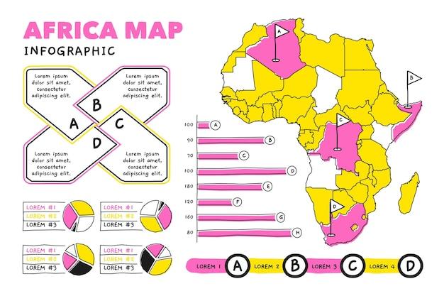 Hand getekend afrika kaart infographic Premium Vector